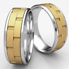 Chain Link Beveled Edge Mens 2 Tone Gold Carved Wedding Band