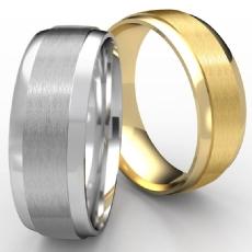 Satin Center Polished Edge Unisex 14k Gold Yellow Wedding Band