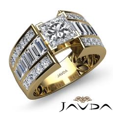 Baguette 3 Row Shank Princess diamond engagement Ring in 14k Gold Yellow