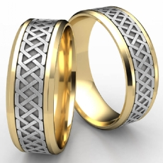 Celtic Love Knot Beveled Edge Men's 2 Tone Gold Wedding Band