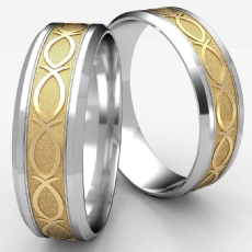 Fish Pattern Drop Bevel Edge Unisex 2 Tone Gold Wedding Band