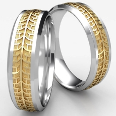 Bevel Edge Pirelli Tread Center Wedding Band 2 Tone Gold Men