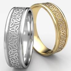 Love Knot Traingle Round Edge Men's Wedding Band 14k Gold Yellow