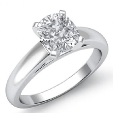 Classic Solitaire Cathedral Cushion diamond engagement Ring in 14k Gold White
