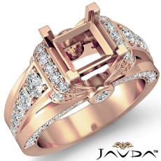 Diamond Engagement Semi Mount Ring 18k Rose Gold Knot Shape Shank Setting (1.35Ct. tw.)