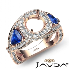 3 Stone Diamond Engagement Trillion Round Semi Mount Ring 14k Rose Gold  (1.3Ct. tw.)