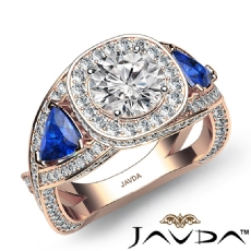 Trillion Three Stone Halo Pave Round diamond engagement Ring in 18k Rose Gold