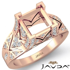 Diamond Antique Engagement Ring Princess Semi Mount Setting 14k Rose Gold (0.7Ct. tw.)