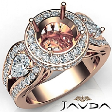 3 Stone Round Diamond Vintage style Engagement Halo Ring Set 14k Rose Gold Semi-Mount  (1.85Ct. tw.)