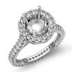 Diamond Engagement Ring 14k White Gold Round Semi Mount Halo Pave Setting 1.5Ct - javda.com