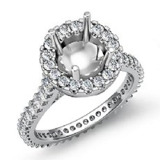Diamond Engagement Ring 14k White Gold Round Semi Mount Halo Pave Setting 1.5Ct