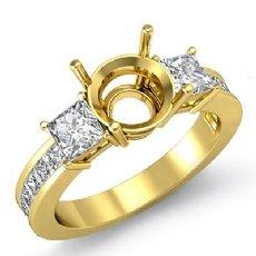 Three 3 Stone Diamond Engagement Ring 18k Gold Yellow Princess Round Setting  (1.1Ct. tw.)