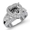 1.5Ct 3Stone Diamond Engagement Ring Halo Setting 14k White Gold Heart SemiMount - javda.com