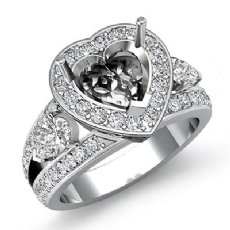 1.5Ct 3Stone Diamond Engagement Ring Halo Setting 14k White Gold Heart SemiMount