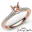 Diamond Engagement Pave Setting 14k Rose Gold Cushion Semi Mount Ring 0.65Ct - javda.com