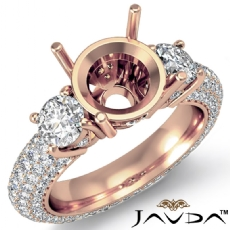 Three 3 Stone Round Diamond Engagement Ring Setting 14k Rose Gold Semi Mount  (2.64Ct. tw.)