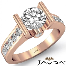 Channel Bezel Accents Set Round diamond engagement Ring in 18k Rose Gold
