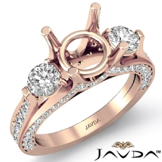 Three 3 Stone Round Diamond Engagement Ring Setting 14k Rose Gold Semi Mount  (1.3Ct. tw.)