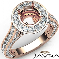 Diamond Engagement Round Semi Mount Halo Pave Setting Ring 18k Rose Gold (2.1Ct. tw.)