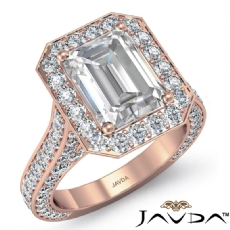 Emerald diamond  Ring in 18k Rose Gold
