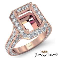 Diamond Engagement Halo Setting Ring Emerald Semi Mount 14k Rose Gold  (2.1Ct. tw.)