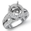1.3Ct Diamond Engagement Halo Pave Setting Ring Round Semi Mount 14k White Gold - javda.com