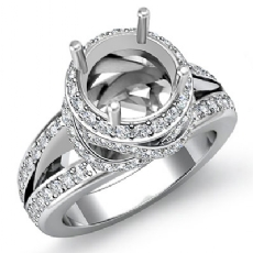 1.3Ct Diamond Engagement Halo Pave Setting Ring Round Semi Mount 14K White Gold
