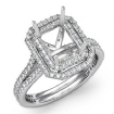 1.6Ct Halo Setting Diamond Engagement Emerald Cut Semi Mount Ring 14k White Gold - javda.com