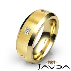 Matte Bevel Edge Men's Diamond Eternity Wedding Band 14k Gold Yellow  (0.5Ct. tw.)