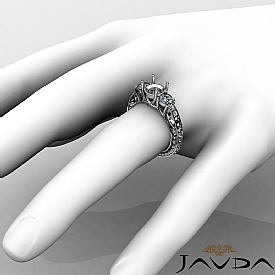 Round Diamond 3 Stone Engagement Ring Vintage SemiMount Setting 14K W Gold 0.4Ct