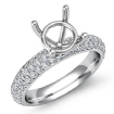 1.08Ct Round Pave Setting Diamond Women Engagement Ring Semi Mount 14k White Gold - javda.com