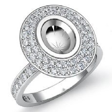 0.75Ct Halo Pave Setting Diamond Engagement Oval Semi Mount Ring 14K White Gold