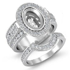 2.3Ct Diamond Engagement Pave Ring Bridal Sets 14K White Gold Oval Semi Mounts