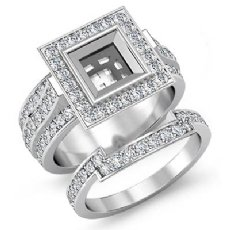 2.3Ct Diamond Engagement Pave Ring Bridal Sets 14K White Gold Princess Setting