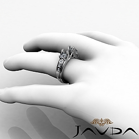 Round Diamond 3 Stone Engagement SemiMount Ring 14K W Gold Prong Bar Setting 1Ct