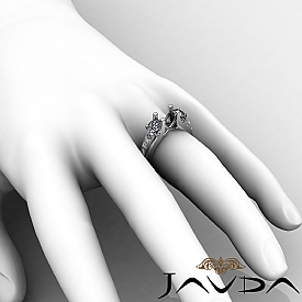 Round Diamond 3 Stone Engagement SemiMount Ring 14K W Gold Prong Bar Setting 1Ct