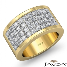 Princess Invisible Diamond Women's Half Wedding Band Ring 18k Gold Yellow  (2.15Ct. tw.)