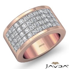 Princess Invisible Diamond Women's Half Wedding Band Ring 14k Rose Gold  (2.15Ct. tw.)