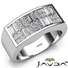 3.25 Ct Princess Baguette Invisible Men Diamond Ring W Gold