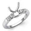 Three 3 Stone Baguette Round Diamond Engagement Ring 14k White Gold Setting 0.3Ct - javda.com
