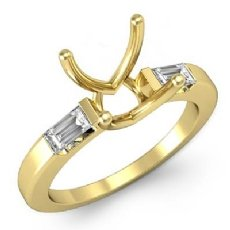 Three 3 Stone Baguette Round Diamond Engagement Ring 18k Gold Yellow Setting  (0.3Ct. tw.)