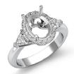 3 Stone Diamond Engagement Trillion Oval Semi Mount Ring 14k White Gold Setting 1Ct - javda.com