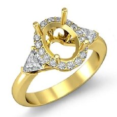 3 Stone Diamond Engagement Trillion Oval Semi Mount Ring 14k Gold Yellow Setting  (1Ct. tw.)