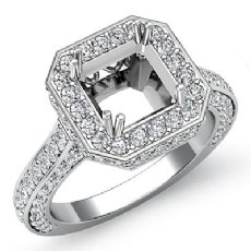 1.7Ct Halo Setting Diamond Engagement Ring Asscher Semi Mount 14k White Gold