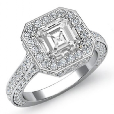 Vintage Style Circa Halo Asscher diamond engagement Ring in 14k Gold White
