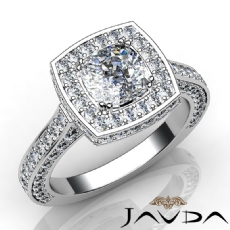 Halo Pave Filigree Vintage Cushion diamond engagement Ring in 14k Gold White