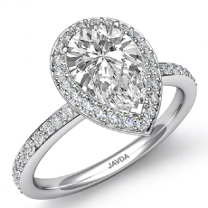 Petite Micropave Halo Basket Pear diamond  Ring in 14k Gold White