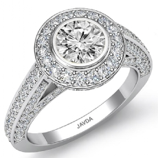 Round diamond engagement Ring in 14k Gold White