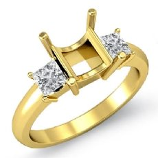 Three Stone Diamond Semi Mount Engagement Ring Princess Setting 18k Gold Yellow  (0.51Ct. tw.)