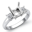 Three Stone Diamond Semi Mount Engagement Ring Princess Setting 14k White Gold 0.51Ct - javda.com